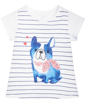 First Impressions Striped DogPrint Cotton TShirt Baby Girls (024 months) Created for Macys
