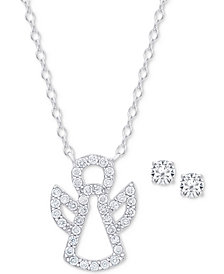Cubic Zirconia Angel Pendant Necklace and Stud Earrings Set in Sterling Silver