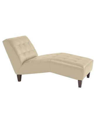 CLOSEOUT Alessia Leather Tufted Chaise Lounge Chair Furniture