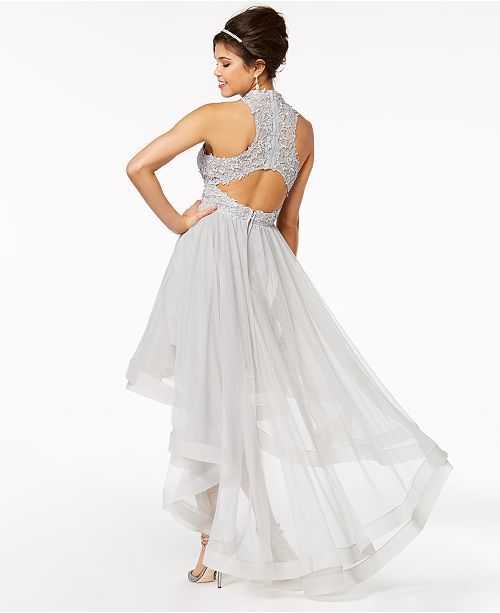 99382b0a6 Say Yes to the Prom Juniors' Embellished Lace High-Low Dress, Created for  ...