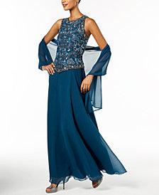 J Kara Handbeaded Gown & Shawl