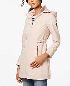 Nautica Buckle-Side Hooded Softshell Raincoat