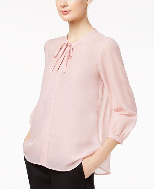 ef56d31cd7b58 Marella Silk Blend Semi-Sheer Tie-Neck Blouse   Reviews - Tops ...