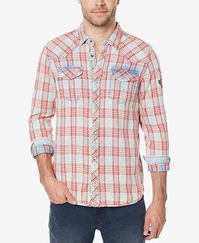 Buffalo David Bitton Men's Plaid Denim Shirt