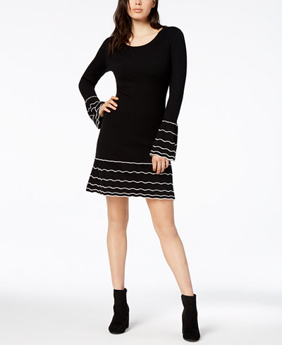 Bar III Striped Bell-Sleeve Sweater Dress, Created for Macy's