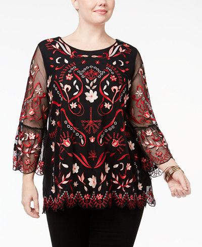 Alfani Plus Size Embroidered Illusion-Mesh Tunic, Created for Macy's
