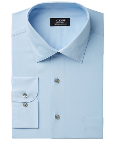 Alfani Men's Classic/Regular Fit Performance Stretch Easy-Care Solid Dress Shirt, Created for Macy's