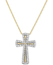 Diamond Cross Pendant Necklace (1/4 ct. t.w.) in 14k Gold