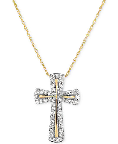Diamond Cross Pendant Necklace (1/4 ct. t.w.) in 14k Gold