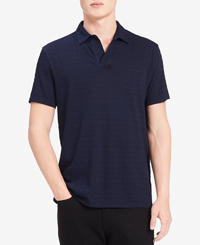 Calvin Klein Jeans Men's Textured-Stripe Johnny-Collar Polo