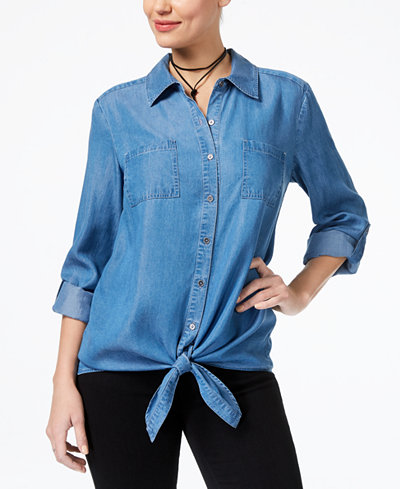 Style & Co Petite Tie-Hem Denim Shirt, Created for Macy's