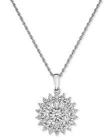 Diamond Flower Cluster Pendant Necklace (1 ct. t.w.) in 14k White Gold