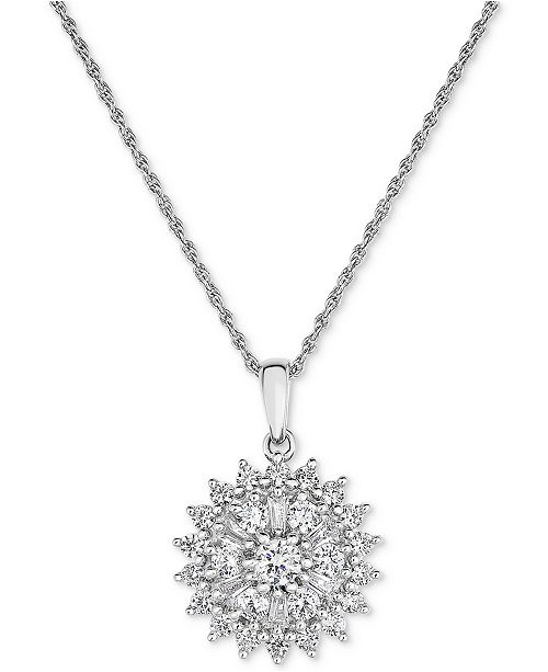 Macy's Diamond Flower Cluster Pendant Necklace (1 ct. t.w.) in 14k White Gold