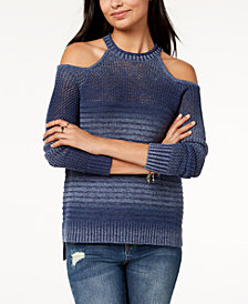 American Rag Juniors' Mixed-Knit Cold-Shoulder Sweater, Created for Macy's