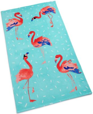 Flamingo Sprinkle Cotton Graphic-Print Beach Towel, Created for Macy's