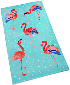 Martha Stewart Collection Flamingo Sprinkle Cotton Graphic-Print Beach Towel, Created for Macy's