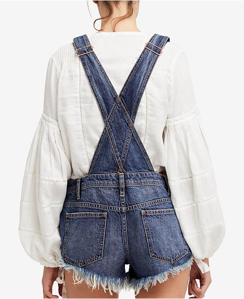 f3def9d26695 Free People Summer Babe Cotton Denim Overalls   Reviews - Shorts ...