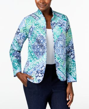 Alfred Dunner Montego Bay Printed Reversible Quilted Jacket 5004172