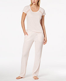 Alfani Mesh-Stripe Pajama Set, Created for Macy's