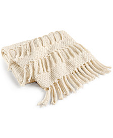 "LAST ACT! Lacourte Riley Cotton Textured Tassel 50"" x 60"" Throw, Created for Macy's"