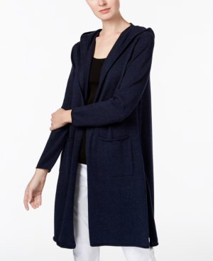 Eileen Fisher Hooded Peruvian Organic Cotton Long Cardigan In Midnight 76c8b4d20