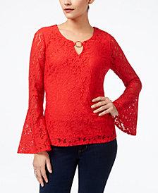 Thalia Sodi Embellished Lace Top, Created for Macy's