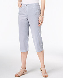 Karen Scott Petite Striped Button-Hem Capri Pants, Created for Macy's