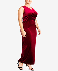 standards and practices Plus Size Regan Velvet Column Gown