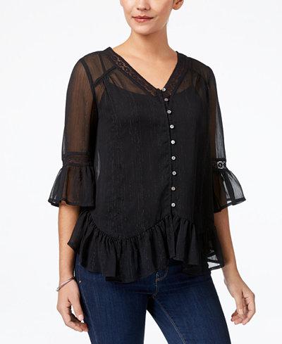 Style & Co Asymmetrical Flounce Blouse, Created for Macy's