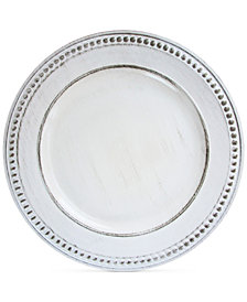 Jay Imports Melamine Antique-White Beaded Charger Plate