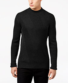 Alfani Men's Mixed Rib-Knit Mock-Neck Sweater, Created for Macy's