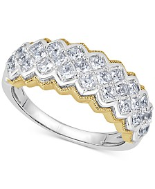 Diamond Two-Tone Pyramid Band (1 ct. t.w.) in 14k Gold & White Gold