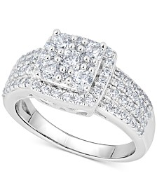 Diamond Halo Square Cluster Ring (1 ct. t.w.) in 14k White Gold