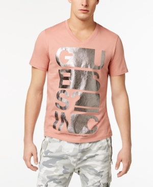 Guess  MEN'S TEXT STRETCH METALLIC LOGO-PRINT V-NECK T-SHIRT