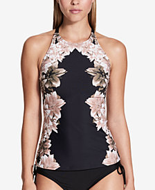 Calvin Klein Black Lily High-Neck Tankini Top