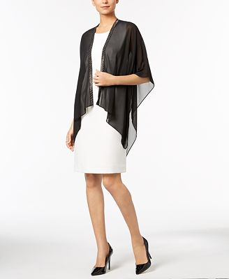 Calvin Klein Multi-Stone Chiffon Evening Cape