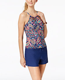 24th & Ocean Paisley Fields Printed Underwire High Neck Tankini Top & 24th & Ocean Boyshort Swim Bottom