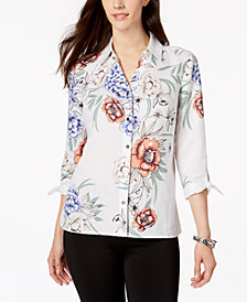 JM Collection Petite Tie-Sleeve Shirt, Created for Macy's
