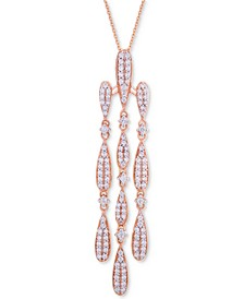Diamond Chandelier Pendant Necklace (3/4 ct. t.w.) in 14k Rose Gold, Created for Macy's