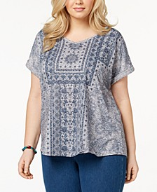 Plus Size Printed Cuffed-Sleeve Top, Created for Macy's