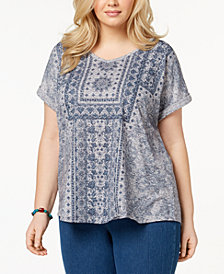 Style & Co Plus Size Printed Cuffed-Sleeve Top, Created for Macy's