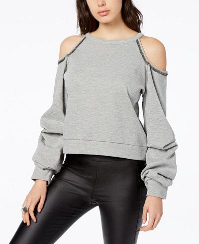 Bar III Cold-Shoulder Sweatshirt, Created for Macy's
