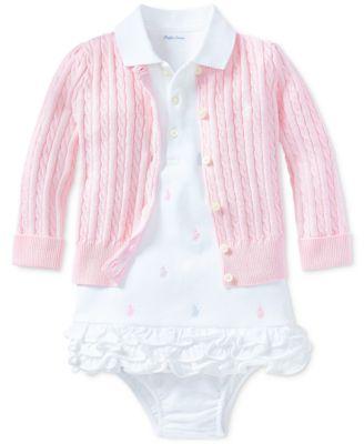 Ralph Lauren Baby Girls Embroidered Polo Dress
