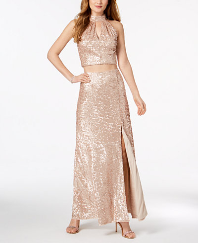 Adrianna Papell 2-Pc. Sequined Mesh Gown