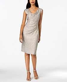 Connected Metallic Draped Sheath Dress