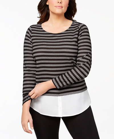 Calvin Klein Plus Size Layered-Look Waffle-Knit Top