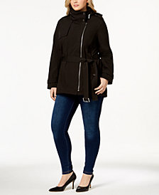 MICHAEL Michael Kors Plus Size Asymmetrical Hooded Raincoat