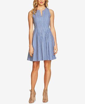 CeCe Striped Fit & Flare Dress