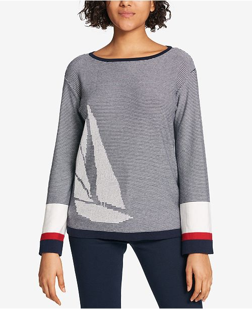 97c698f3c0 ... Tommy Hilfiger Cotton Sailboat-Print Sweater