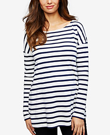 Isabella Oliver Maternity Striped Boat-Neck Top